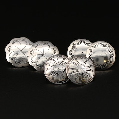 Sterling Concho Style Button Earrings