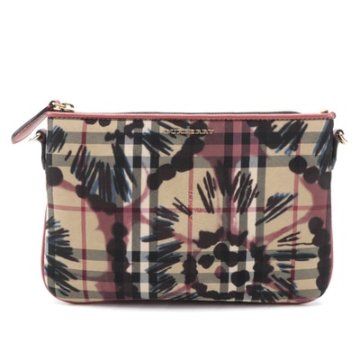 "Burberry Crossbody Clutch in Flower Print ""Horseferry Check"" Canvas with Leather"
