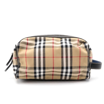 "Burberry ""Nova Check"" Travel Bag with Black and Blue Leather Trim"