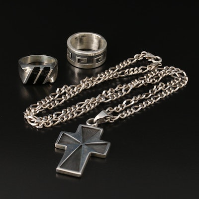 Mexican Sterling Silver Rings and Cross Necklace with Black Onyx
