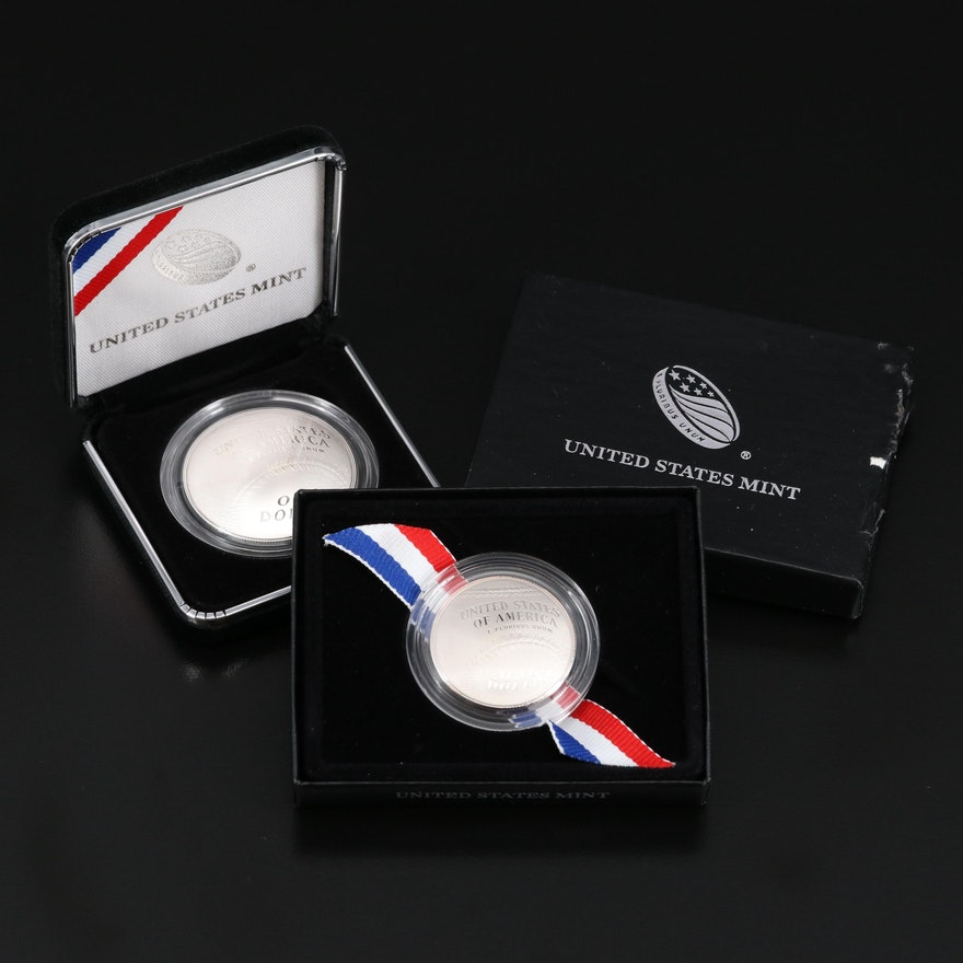 Three Commemorative 2014 Baseball Hall of Fame Coins Including Silver