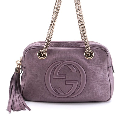 Gucci Metallic Purple Leather Soho Disco Chain Shoulder Bag