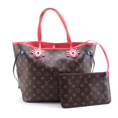 Louis Vuitton Limited Edition Monogram Totem Neo Neverfull MM Tote and Pouch