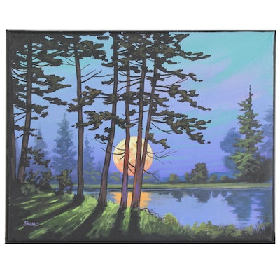 """Douglas """"Bumo"""" Johnpeer Oil Painting """"Pine Reflections"""""""