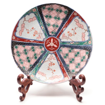 Japanese Imari Porcelain Charger on Wood Stand