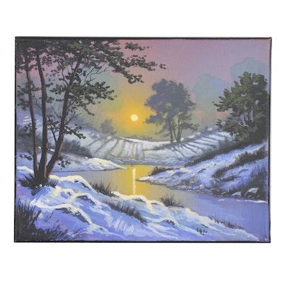 "Douglas ""Bumo"" Johnpeer Oil Painting ""Mountain Snow"""