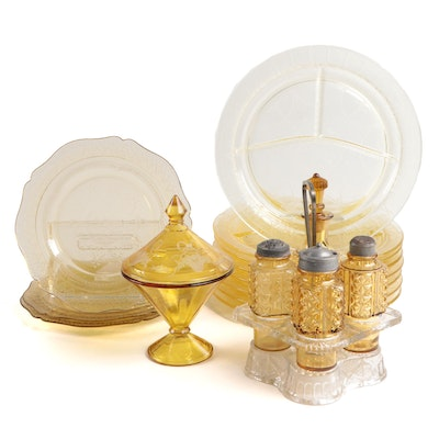 "Anchor Hocking ""Cameo"" Plates and Other Yellow Glass Table Accessories"