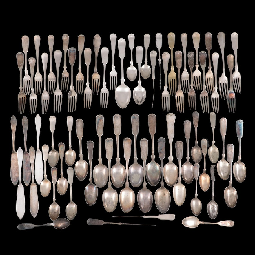 Rogers and Other Silver Plate Fiddle Handle Flatware and Serving Utensils
