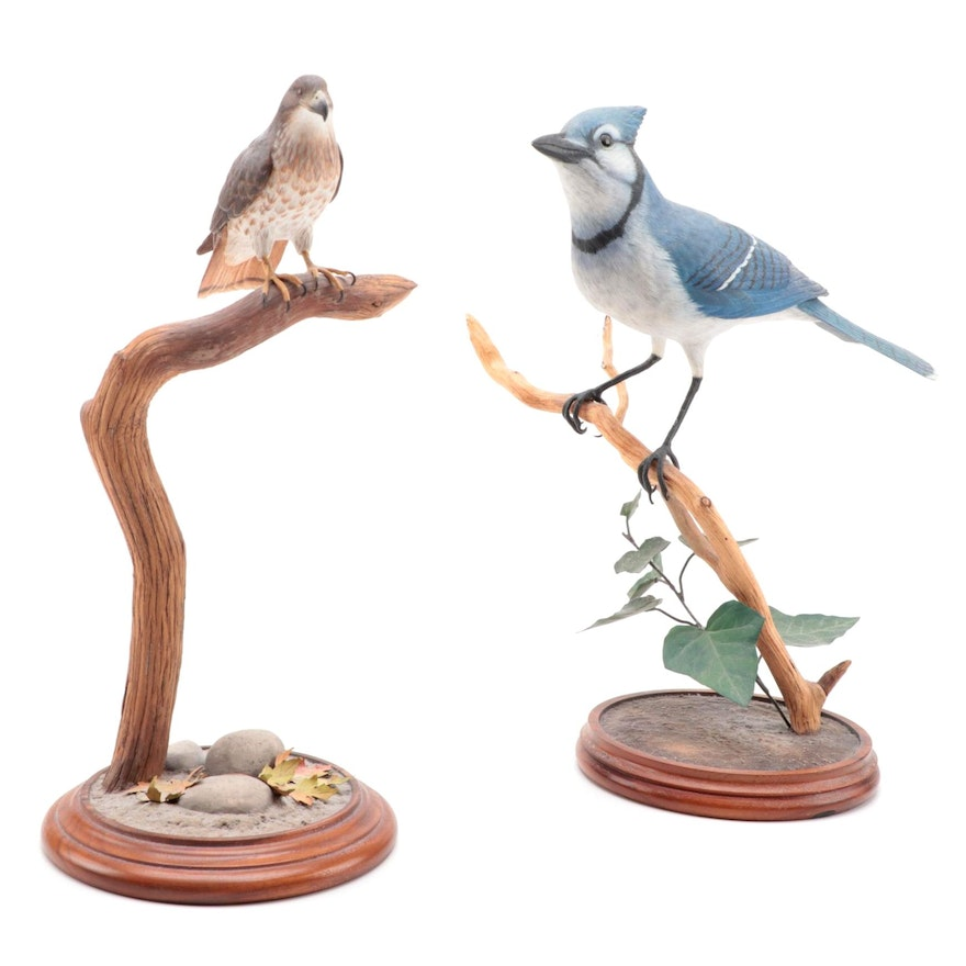 Jim Sams Hand-Painted Carved Wooden Bird Figurines, 1990s