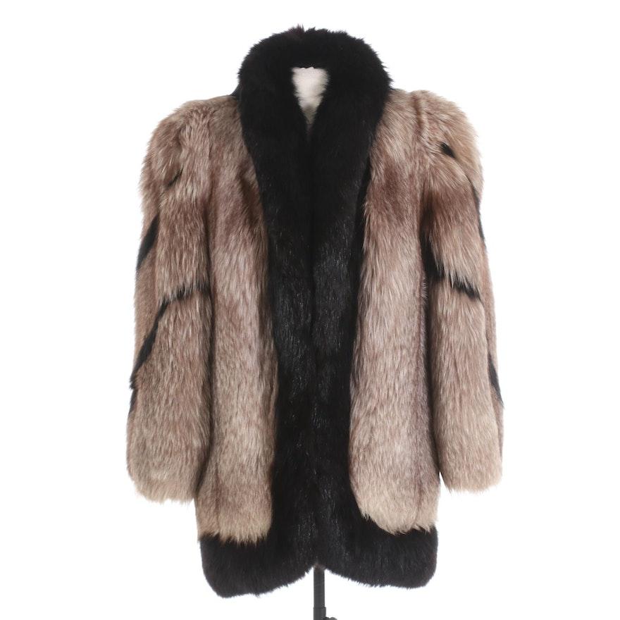 Platinum and Black Fox Fur Stroller Coat