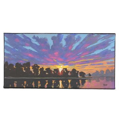 "Douglas ""Bumo"" Johnpeer Oil Painting ""Sunset Bay"""
