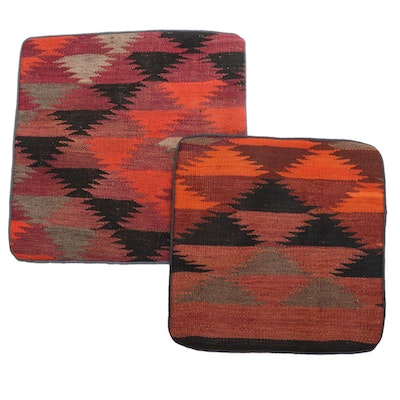 Handwoven Central Asian Kilim Face Throw Pillow Covers