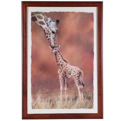 "Offset Lithograph after Simon Mendez ""Giraffe Kiss,"" 21st Century"