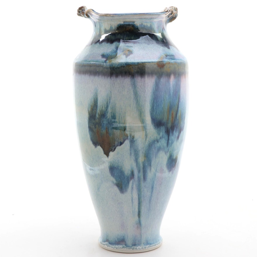 Blue Abstract Glazed Pottery Vase