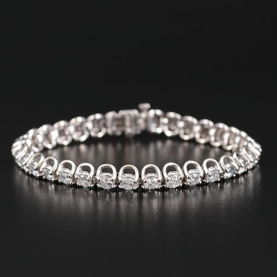 14K 6.50 CTW Diamond Line Bracelet with Fold Over Safety Latch