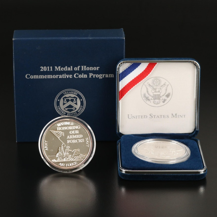 Armed Forces Silver Medal and Commemorative Silver Dollar