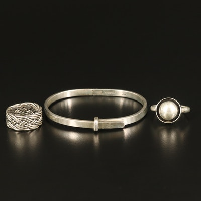Sterling Buckle Bangle with Woven and Shadow Box Rings