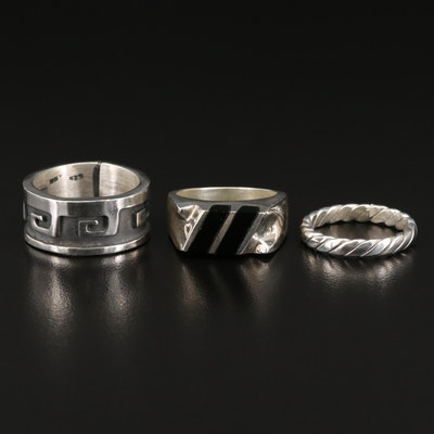 Sterling Bands and and Inlaid Glass Ring