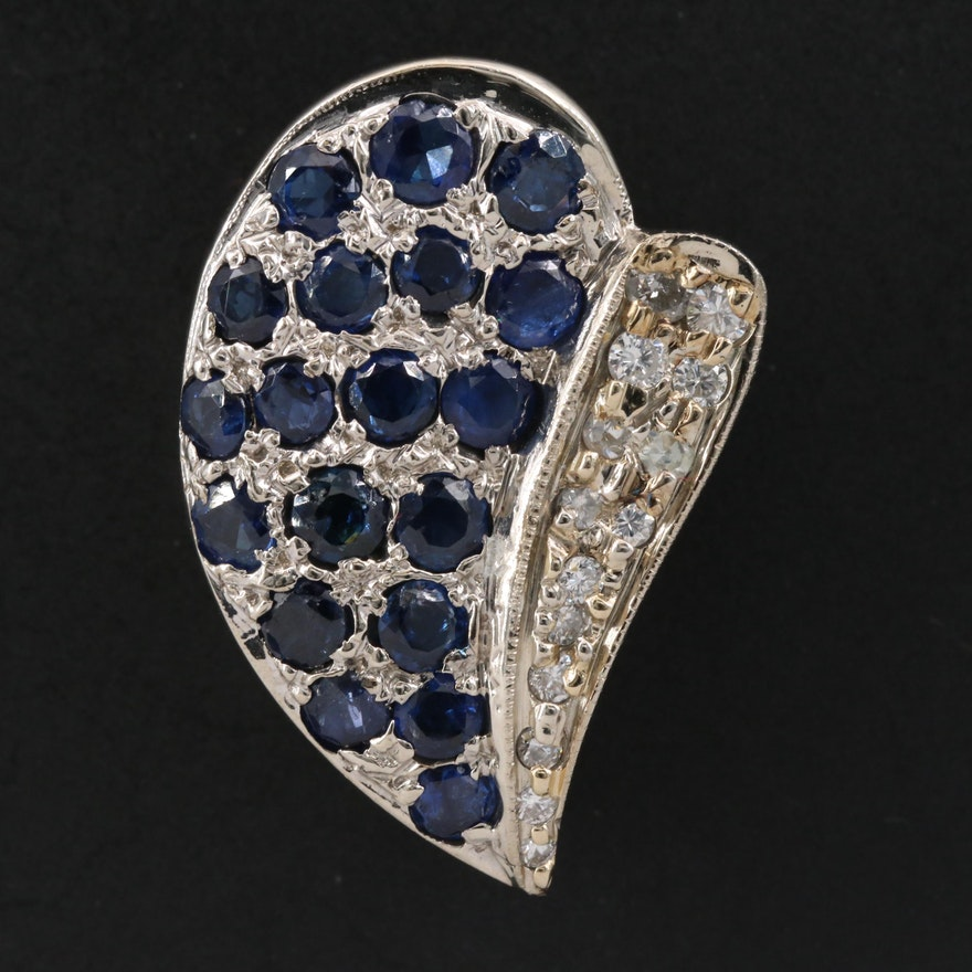14K Diamond and Sapphire Stylized Leaf Slide Pendant