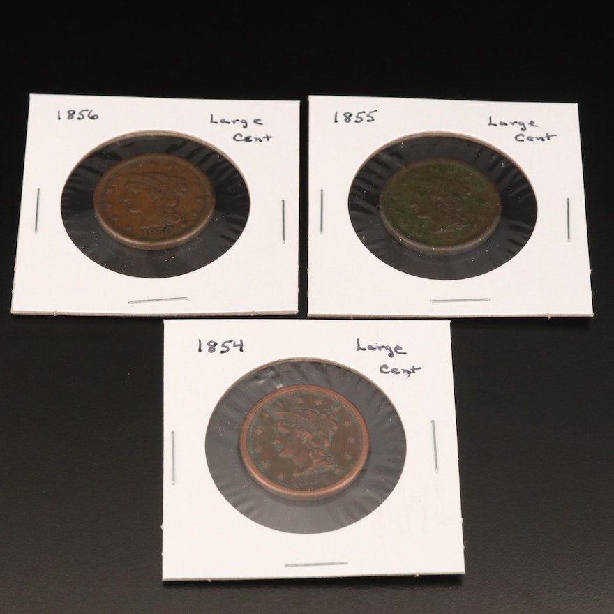 1854, 1855 and 1856 Braided Hair Large Cents