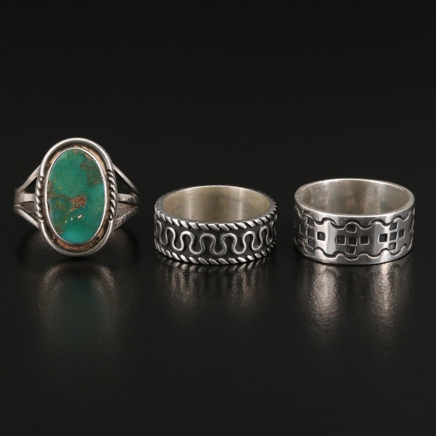 Sterling Stampwork and Undulating Bands and Sterling Turquoise Ring