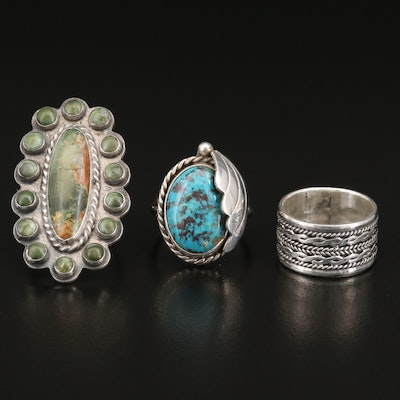 Southwestern Style Sterling Silver Jasper, Turquoise and Niello Rings