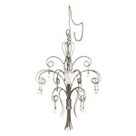 Scroll Metal and Murano Glass Chandelier