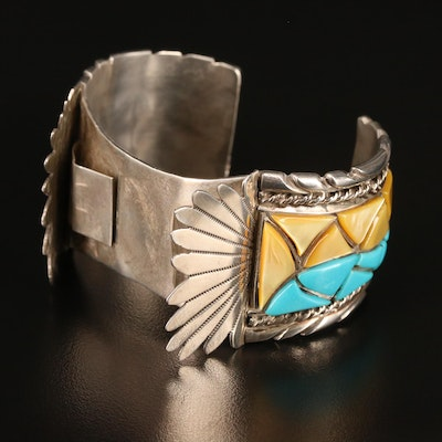 Signed Sterling Turquoise and Mother of Pearl Watch Cuff