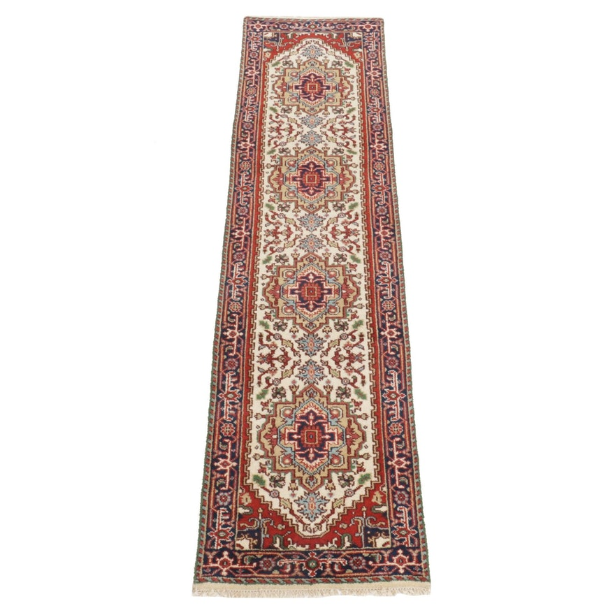 2'7 x 10'5 Hand-Knotted Indo-Persian Heriz Serapi Carpet Runner