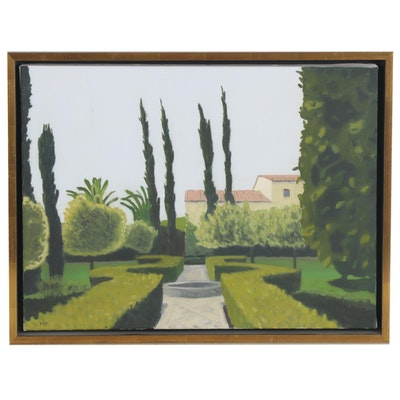 Modernist Landscape Acrylic Painting of Enclosed Garden, 21st Century