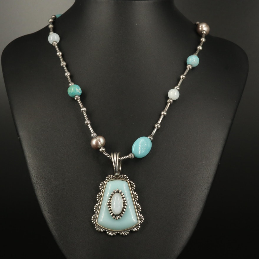 """Carolyn Pollack """"Sincerely Southwest"""" Sterling Turquoise and Gemstone Necklace"""