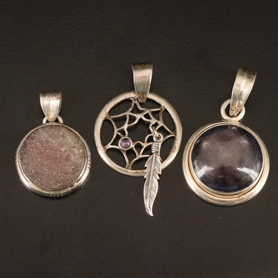 Sterling Pendants Including Amethyst Dream Catcher, Star Sapphire and Druzy