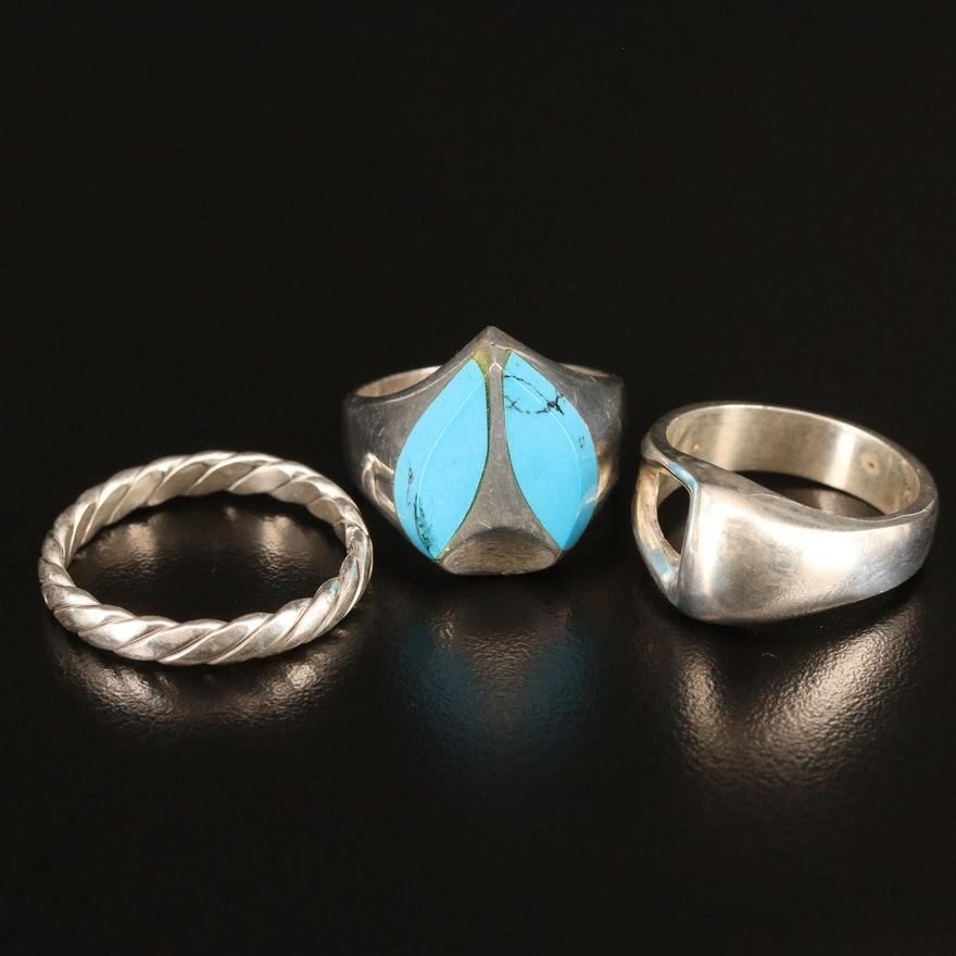 Sterling Geometric and Faux Turquoise Rings and Twisted Band