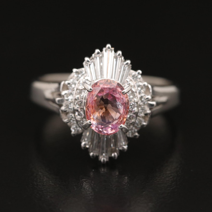 Platinum 1.17 CT Padparadscha Sapphire and Diamond Ring with GIA Report