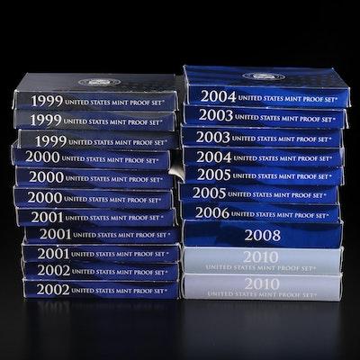Twenty-One U.S. Mint Proof Sets, 1999–2010