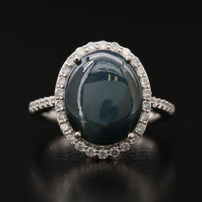 Platinum Star Sapphire and Diamond Ring