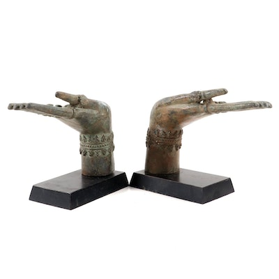 Buddhist Mudra Patinated Metal Figurines on Lacquerware Bases