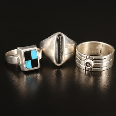 Mexican Sterling Rings Including Inlaid Turquoise and Black Onyx