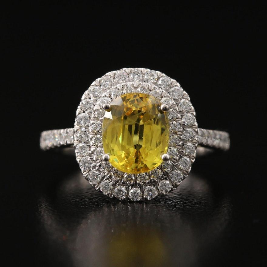 Platinum 2.62 CTW Sapphire Ring with Double Diamond Halo