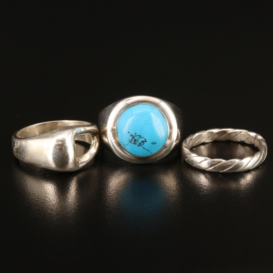 Sterling Turquoise Inlay Ring, Twist and Geometric Bands