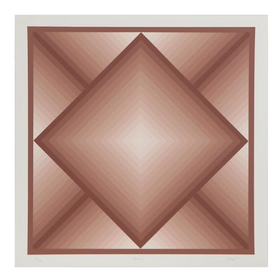 "Jurgen Peters Op Art Serigraph ""Diamond,"" 1977"