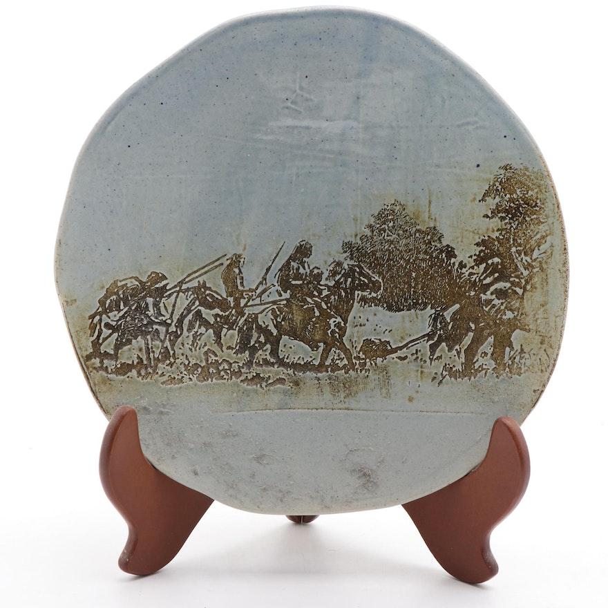 Ceramic Pottery Plate with Native American Scene