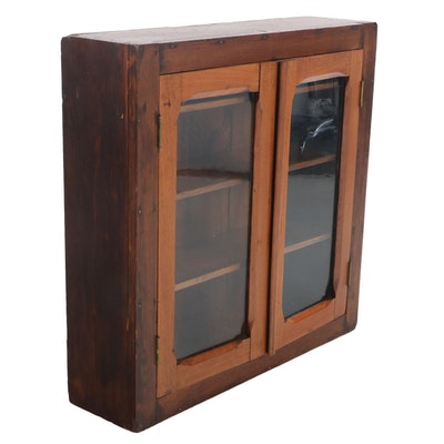 American Primitive Walnut and Poplar Hanging Display Cabinet, Late 19th Century