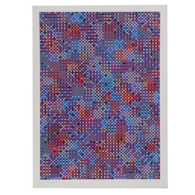 "Tony Bechara Abstract Geometric Serigraph ""Cuernavaca,"" 1979"