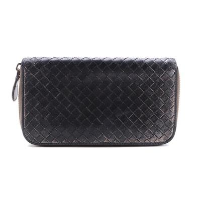 Balenciaga Black/Metallic Intrecciato Leather Zip Wallet