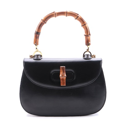 Gucci Bamboo Black Patent Leather Convertible Top Handle Bag