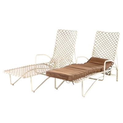 Pair of Metal Framed Outdoor Patio Lounge Chairs
