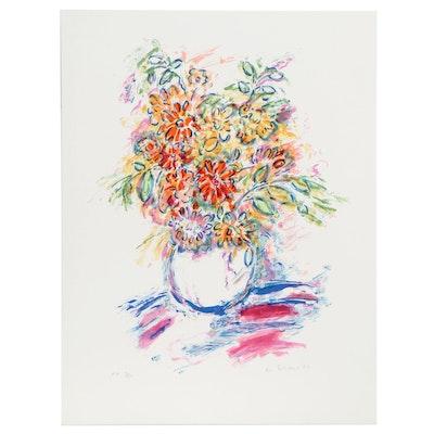 Wayne Ensrud Lithograph of Floral Still Life, 1980