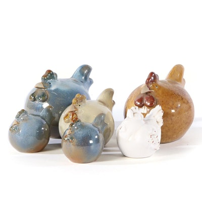 Glazed Earthenware Chicken Figurines, Late 20th Century