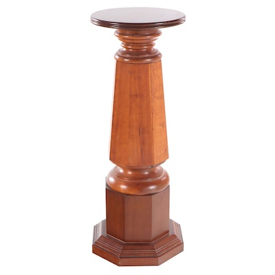 "Cherrywood Display Pedestal, Stamped ""GLENN"", Mid to Late 20th Century"